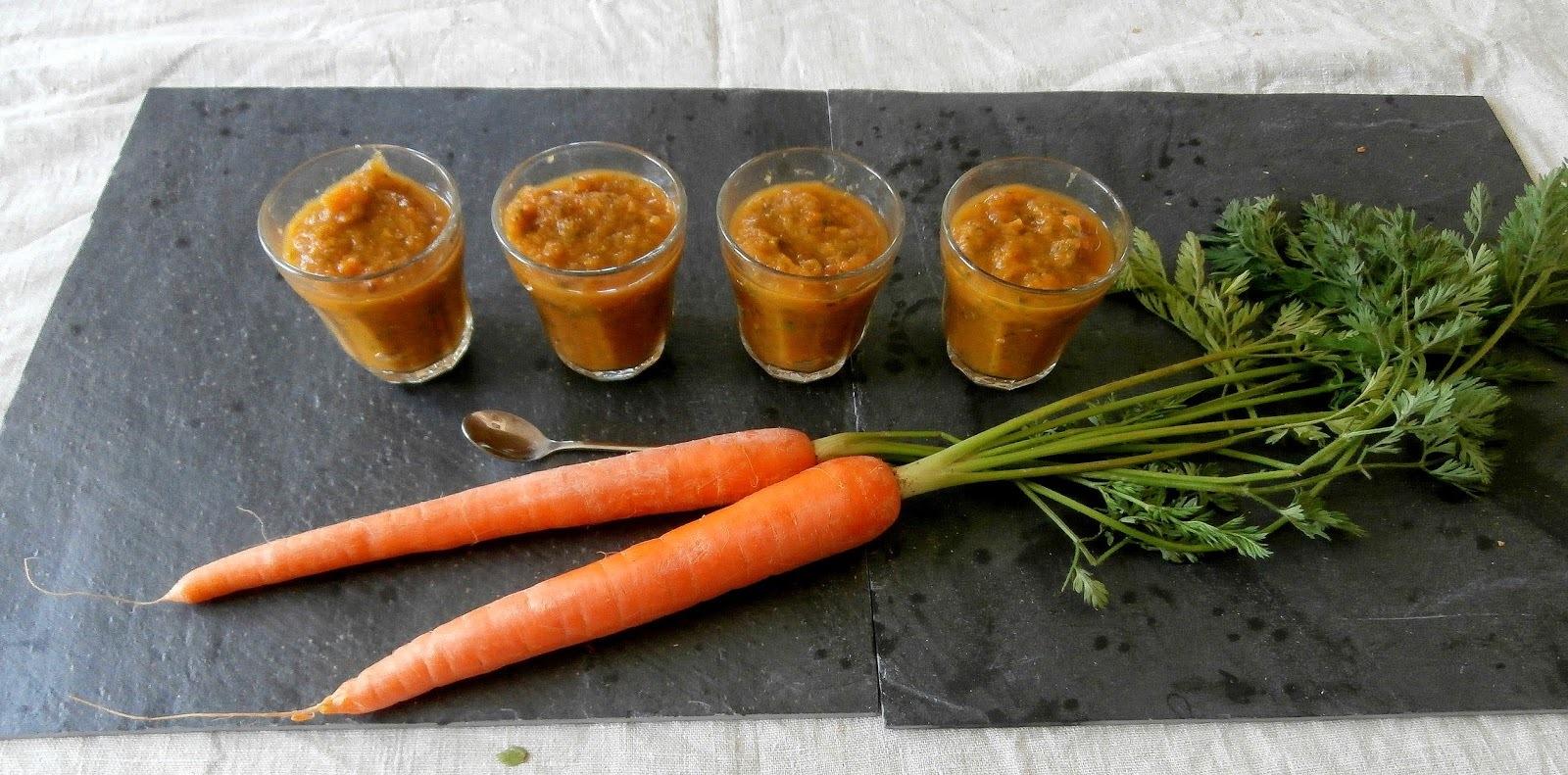Purée de courgettes et carottes en verrines (Mashed zucchini and carrots glasses)