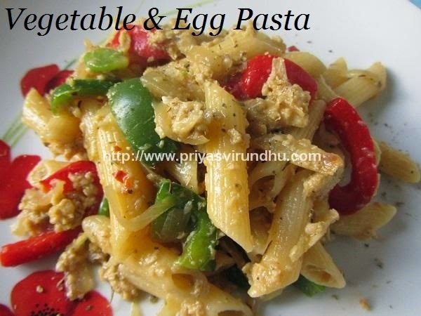 Vegetable & Egg Pasta [Healthy Version with No Cheese & No Sauces]