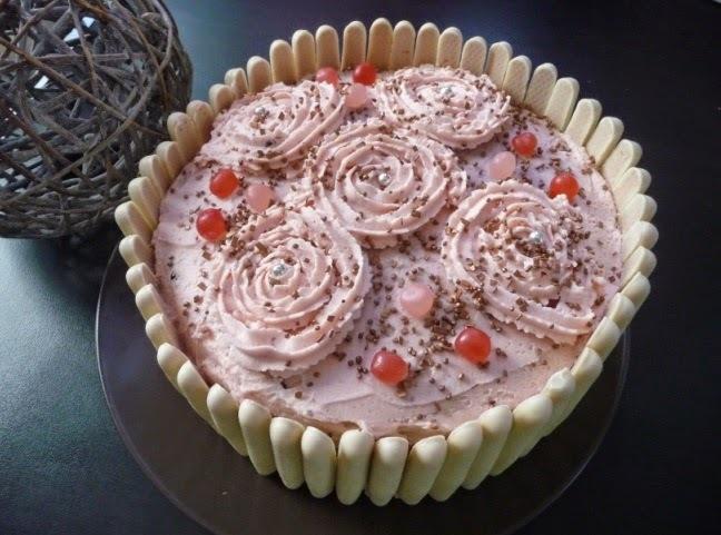 Gâteau d'anniversaire (pour fille!) : gâteau chocolat, poires, crème au mascarpone au thermomix ou sans