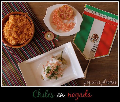 Chiles en nogada (receta mexicana/ Mexican dish)