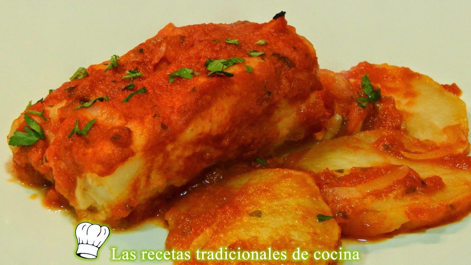 Receta de bacalao con salsa de tomate al horno