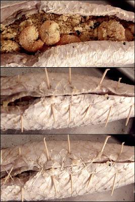 Peixe recheado com farofa de camarão
