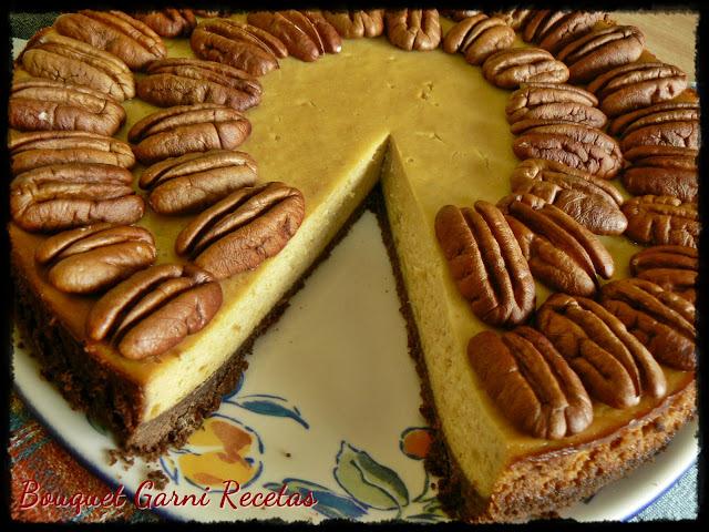 Cheesecake de batatas, miel y nueces Pecan (Además... ¡Otro premio recibido y más de 100 seguidores en Google+!)