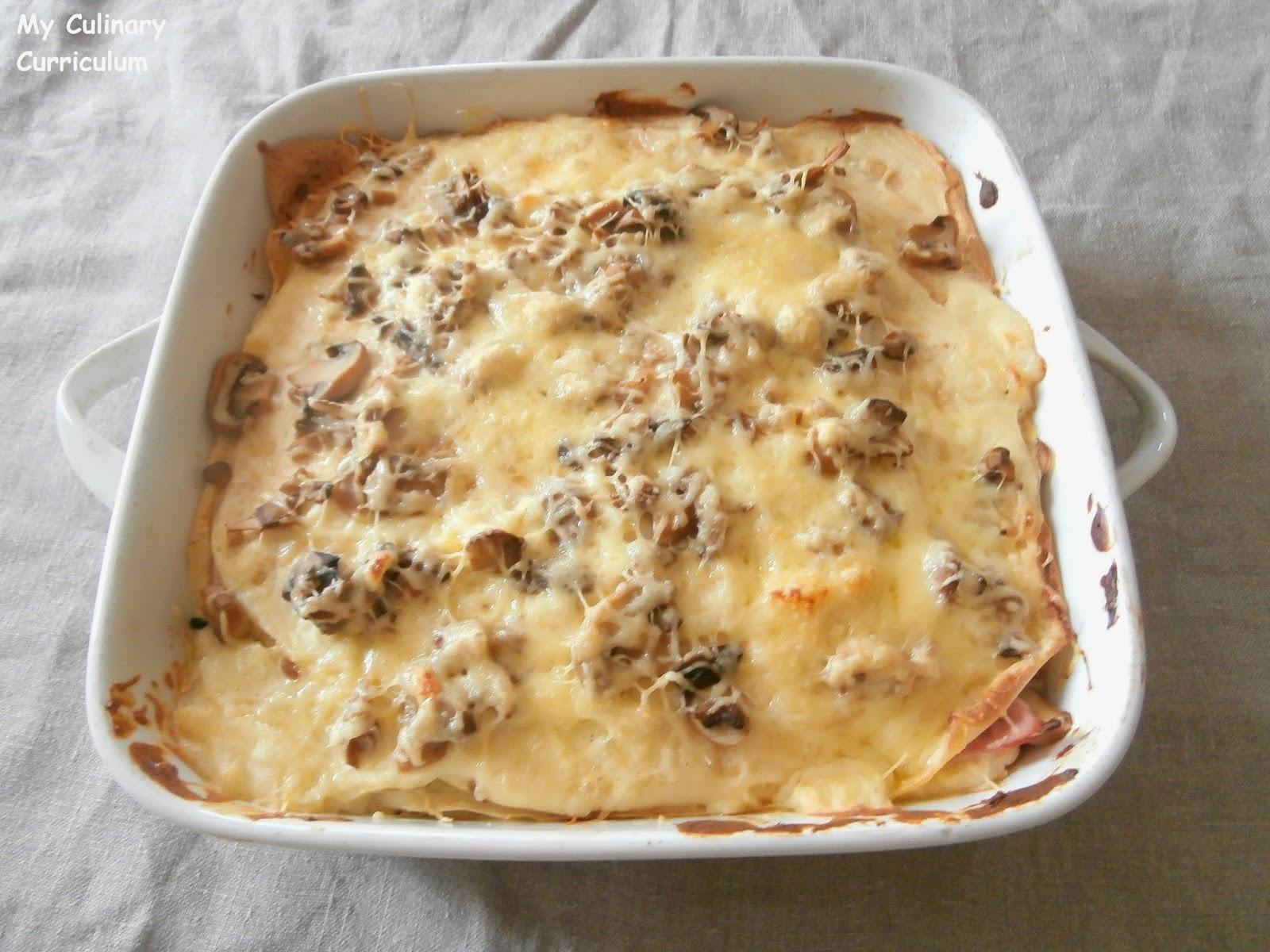 Lasagnes de crêpes jambon, champignons et béchamel (Lasagna ham pancakes, mushrooms and béchamel)