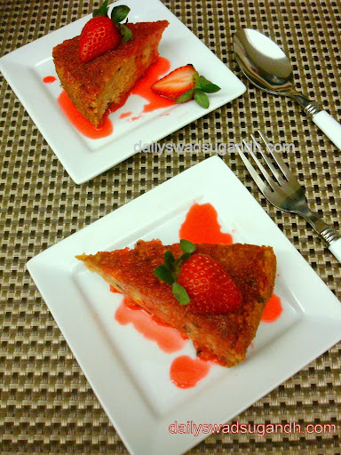 Carrot Cake with Strawberry Sauce (Eggless and butterless)