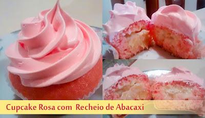 Cupcake Rosa com Recheio de abacaxi