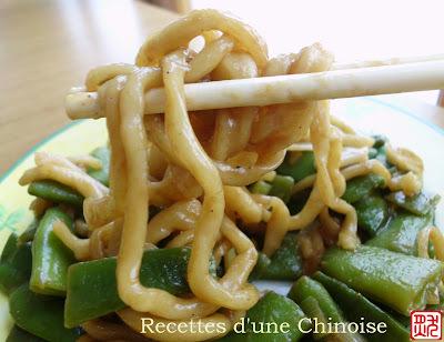 Nouilles cuites à l'étouffé aux haricots plats 扁豆焖面 biǎndòu mèn miàn