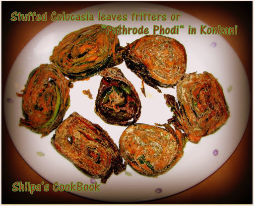 "Stuffed Colocasia leaves Fritters or ""Pathrode Phodi"" - A Konkani delicacy"