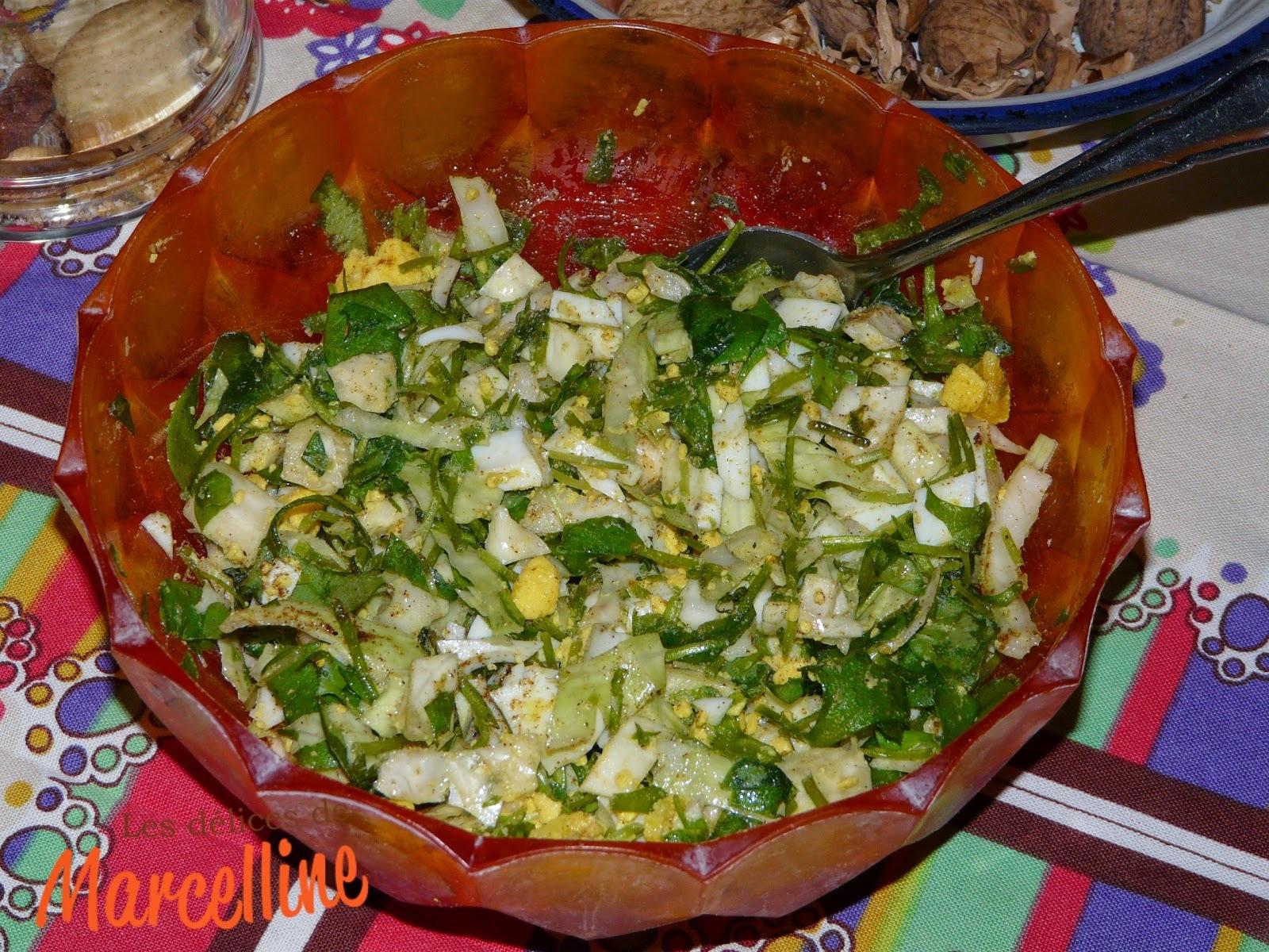 Salade de pourpier aux endives et au œufs durs