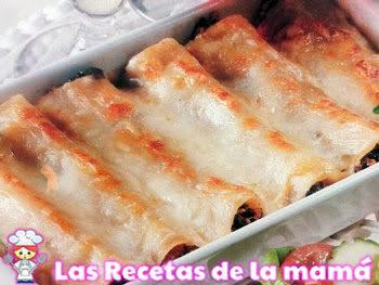 Receta de Canelones de carne y espinacas