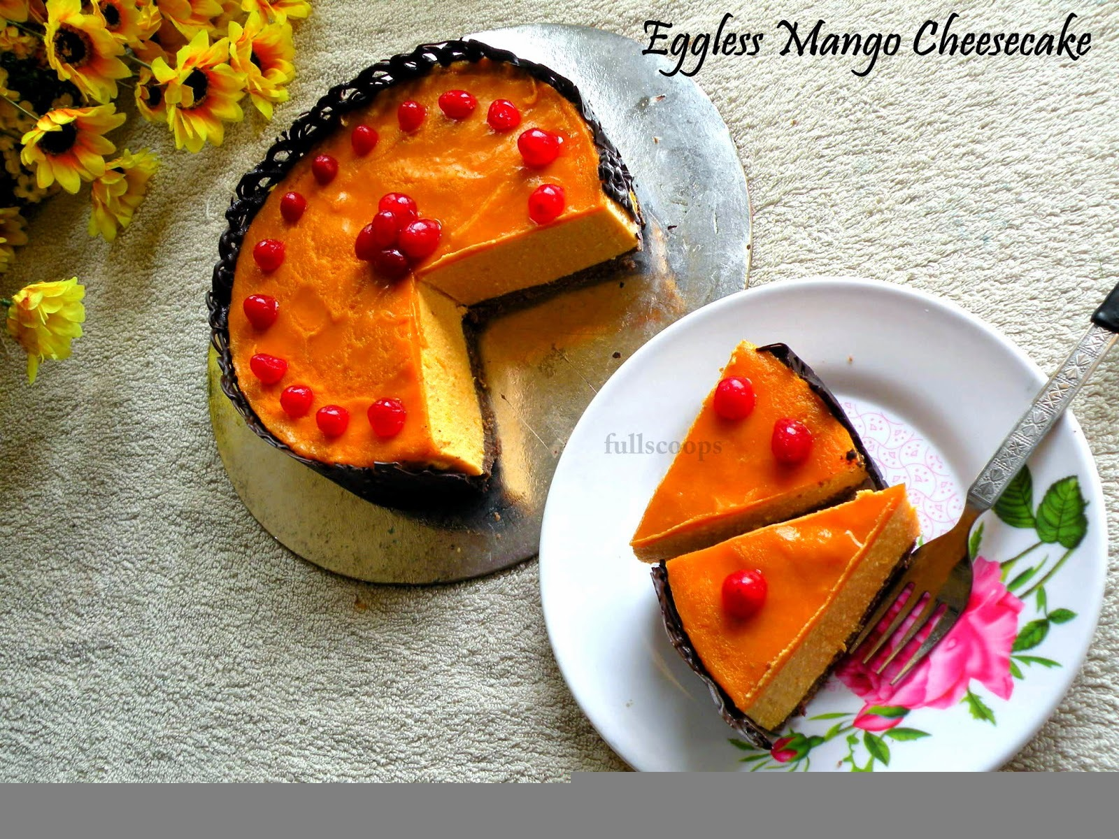 Eggless No Bake Mango Cheese Cake