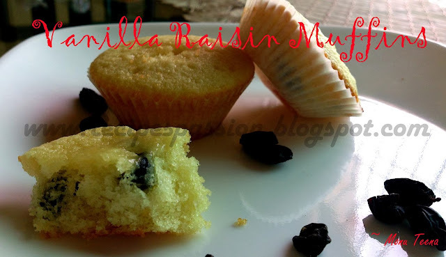 Vanilla Muffins with Raisins (Guest Post by Monu Teena)