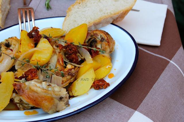 platos finos con pollo