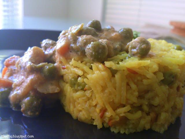 Vegetable kurma with Ghee rice
