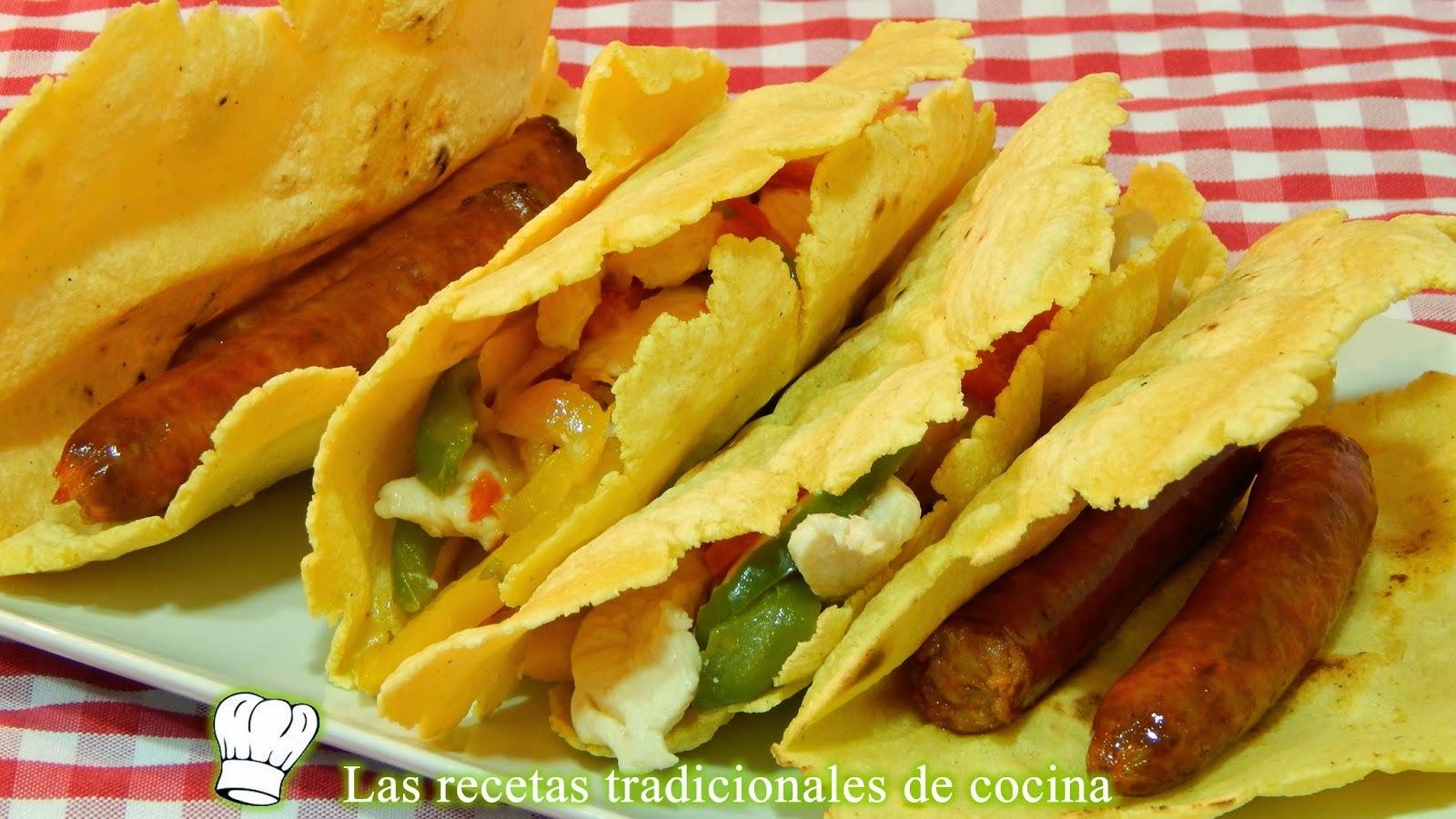 Receta de talos con chistorra o tortitas de maíz