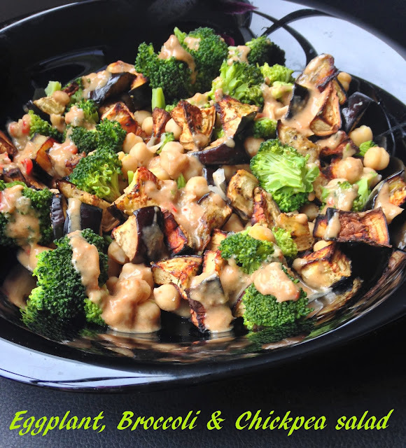Eggplant, Broccoli & Chickpea salad