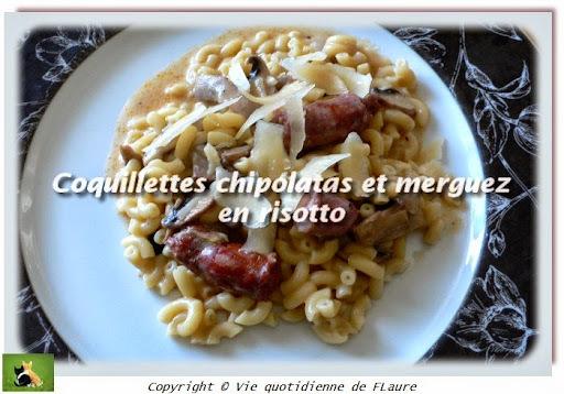 Coquillettes chipolatas et merguez, en risotto