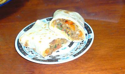 Recette mexicaine : Burrito à la viande hachée + Tortilla ( flat bread )