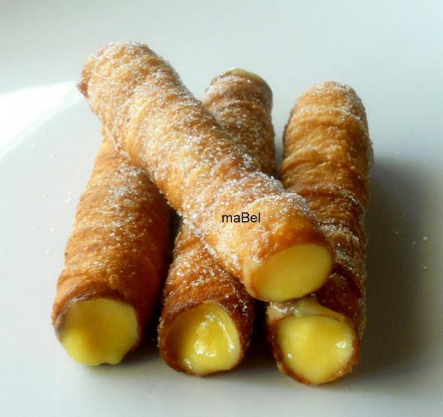Cañas fritas gallegas (Carballiño) rellenas de crema