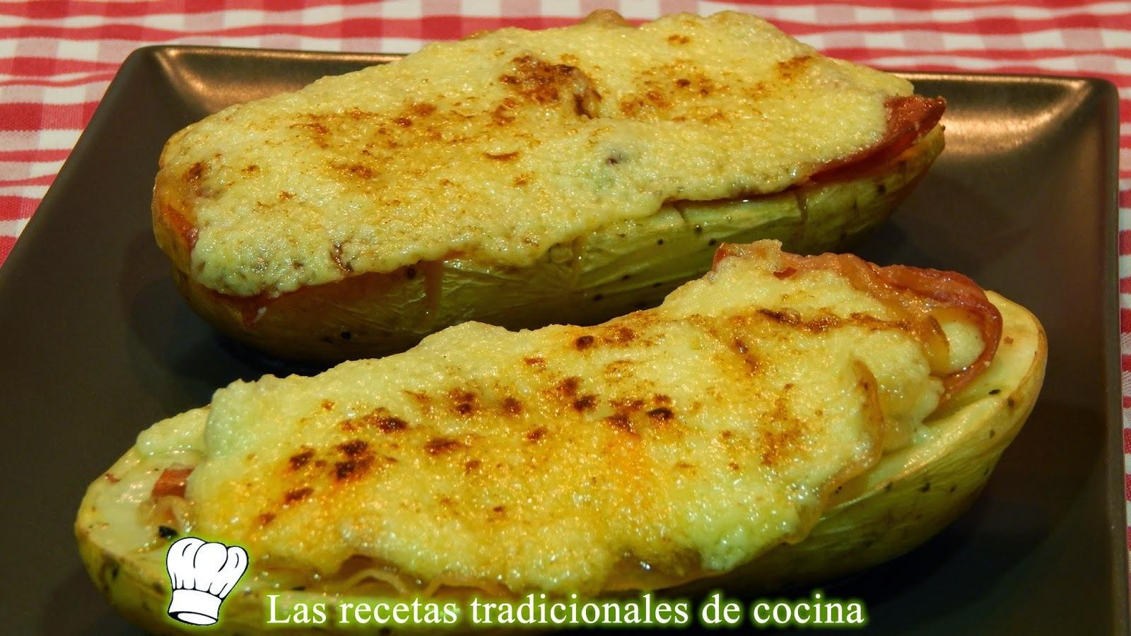 Receta de patatas al horno con jamón y ajoaceite