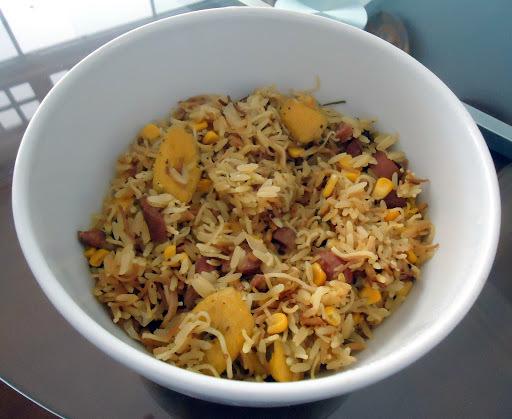 arroz com aletria macarrão cabelo de anjo