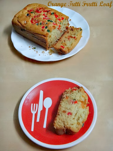 Eggless Orange Tutti Frutti Loaf