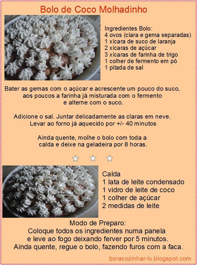Bolo de coco molhadinho
