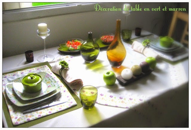 DECORATION DE TABLE EN VERT ET MARRON