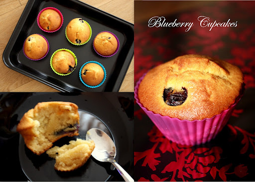 Spongy Eggless Blueberry Cupcakes/ Muffins