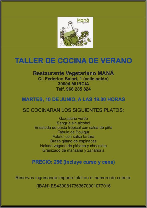 Taller de cocina vegetariana de verano en Maná