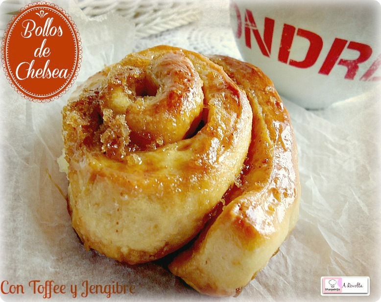 Chelsea Buns with Toffee and  candied Ginger (Bollos de Chelsea con Toffee y Jengibre confitado).