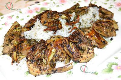 Alcachofas marinadas a la plancha