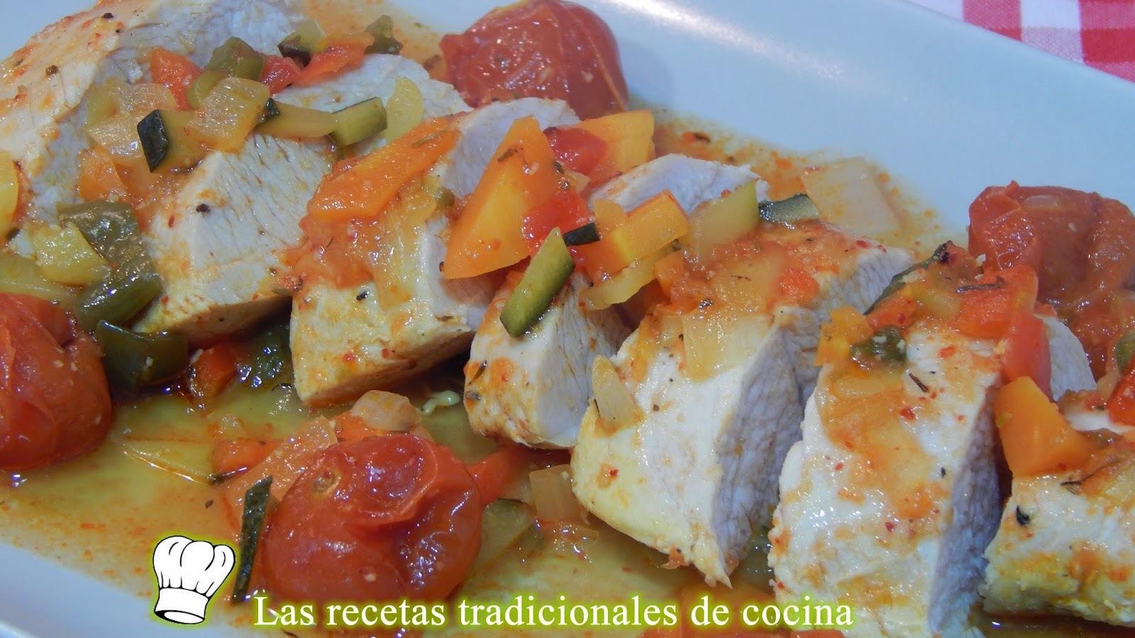 Solomillo de pavo al horno con verduras