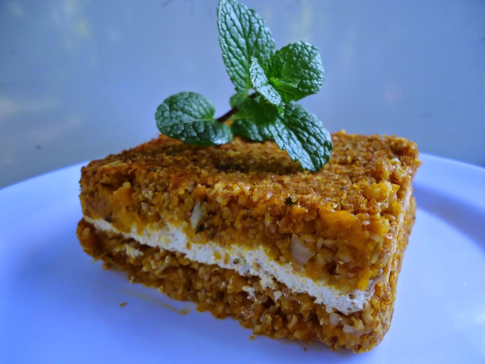 Quibe de abóbora com creme de tofu