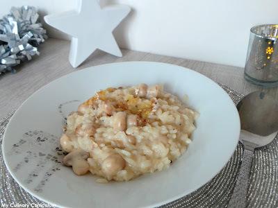 Risotto au brie noir et aux champignons (Black brie cheese and mushrooms risotto)