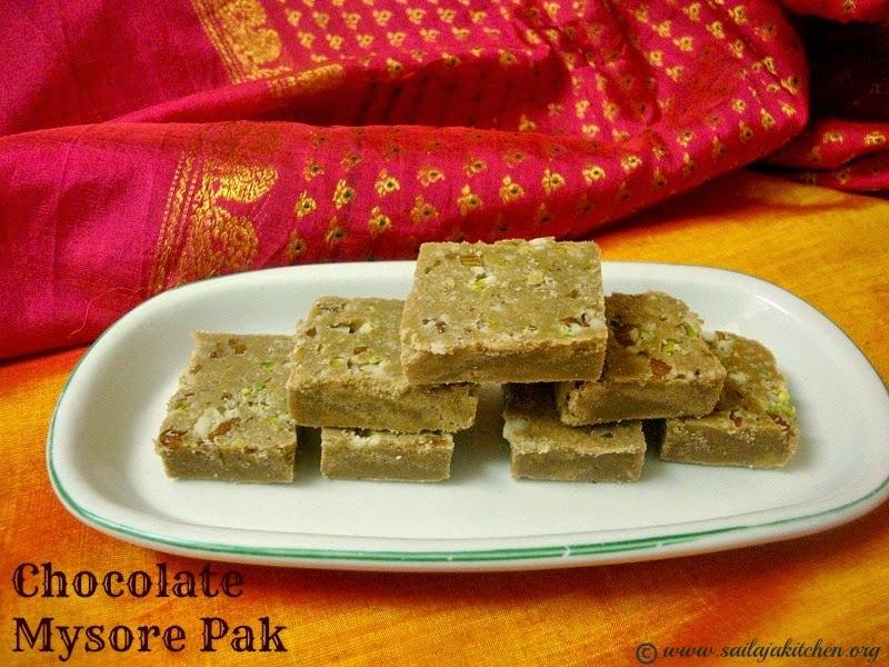 Chocolate Mysore Pak / Soft Chocolate Mysore Pak Recipe / Cocoa Mysore Pak
