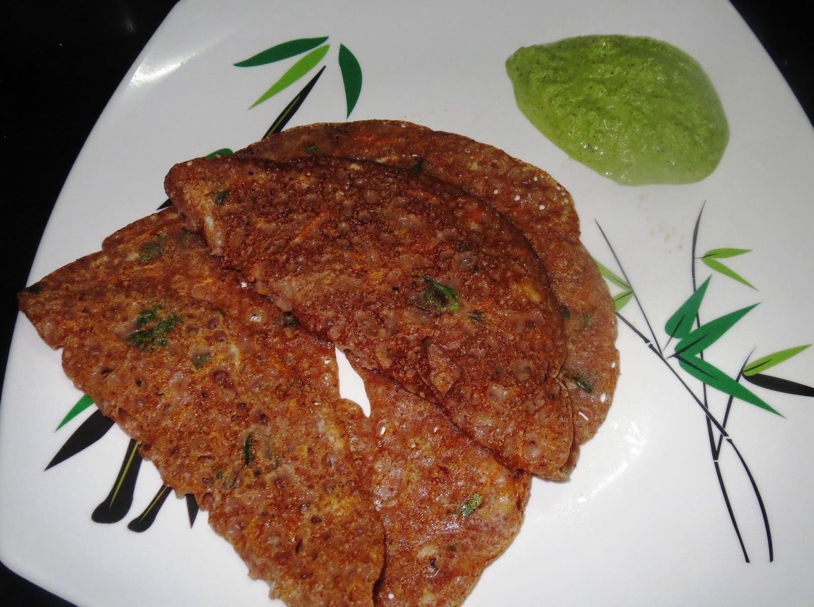 Instant Ragi Dosa with Cucumber Chutney