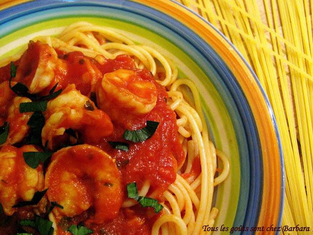Spaghetti sauce épicée aux crevettes