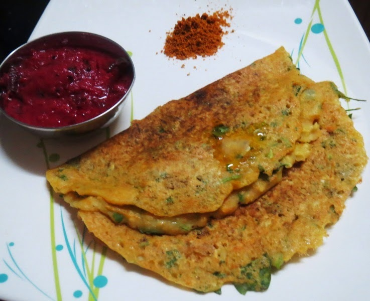 Moong Dal - Millet Flour Dosa (Jowar Flour)