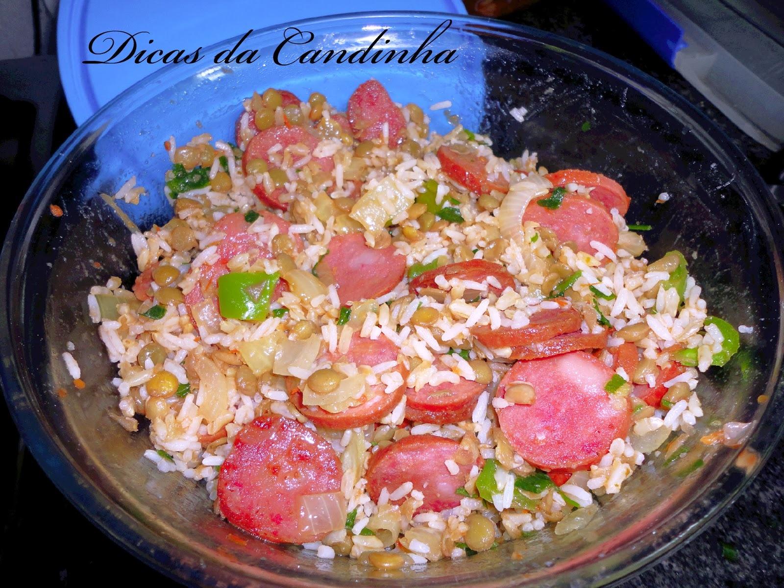 de arroz com lentilha e calabresa na panela de arroz
