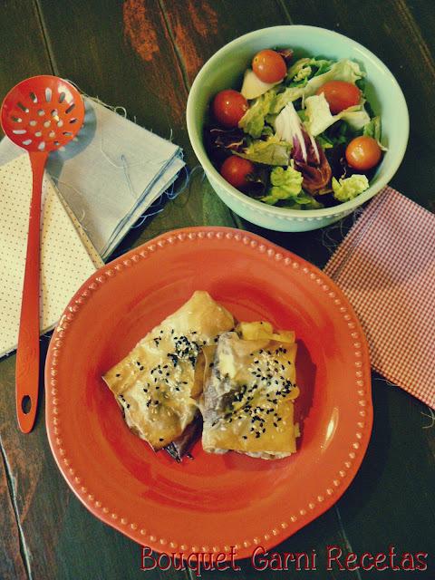 Rollitos de cebollas y queso azul