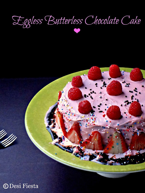 Eggless Butterless Chocolate Cake (Garnished with fresh Berries)