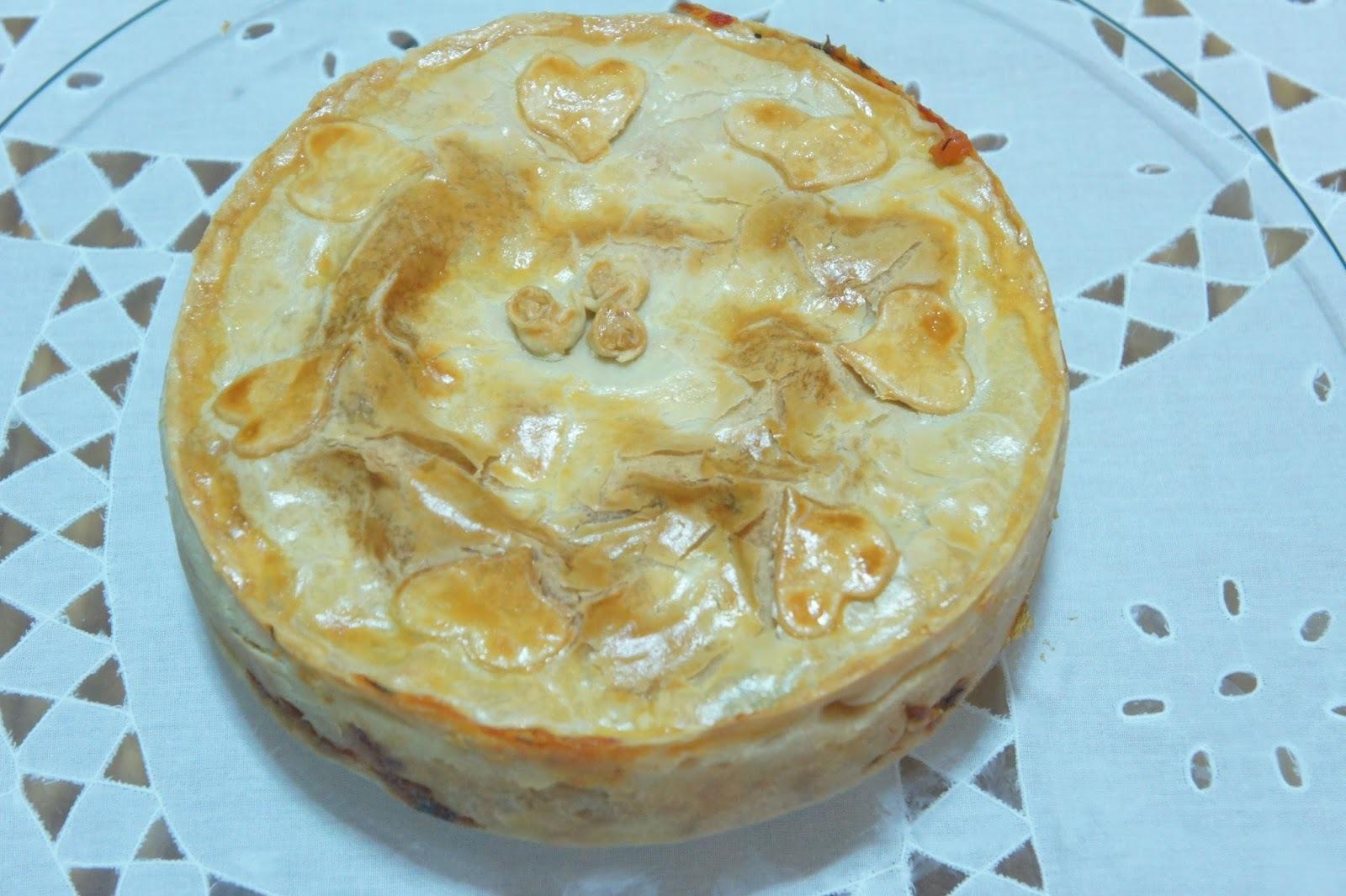 de torta de frango com palmito bacalhau