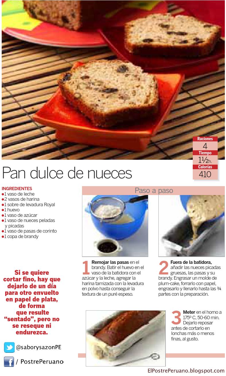RECETA SENCILLA DE PAN DULCE DE NUECES - RECIPE - CAKE - Receta para 4 porciones
