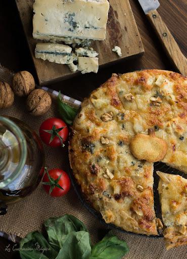 Pizza de manzana, nueces y queso La Peral. Sorteo aceitera Lafiore