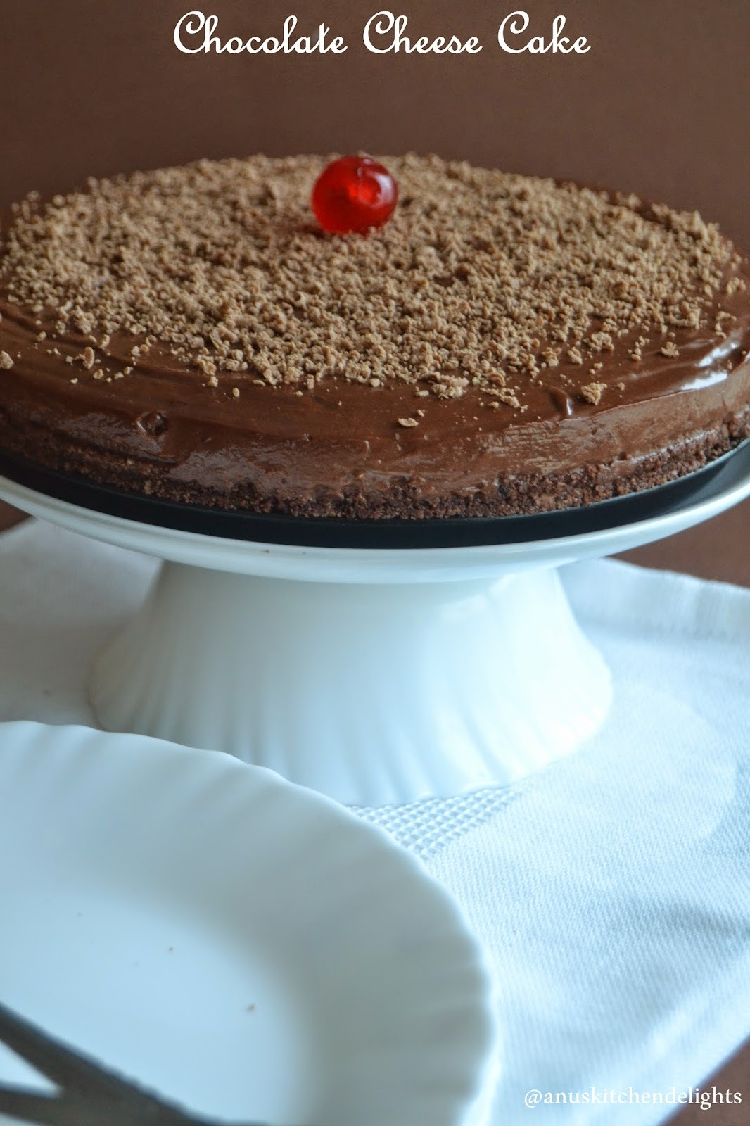 Chocolate Cheese Cake Recipe - Eggless & No Bake - Guest Post @ Fullscoops