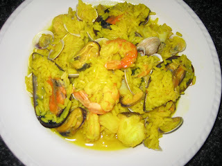 Arroz con mejillones y gambas light