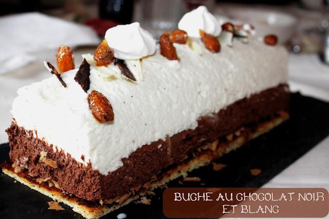 Bûche mousse au chocolat noir et chocolat blanc