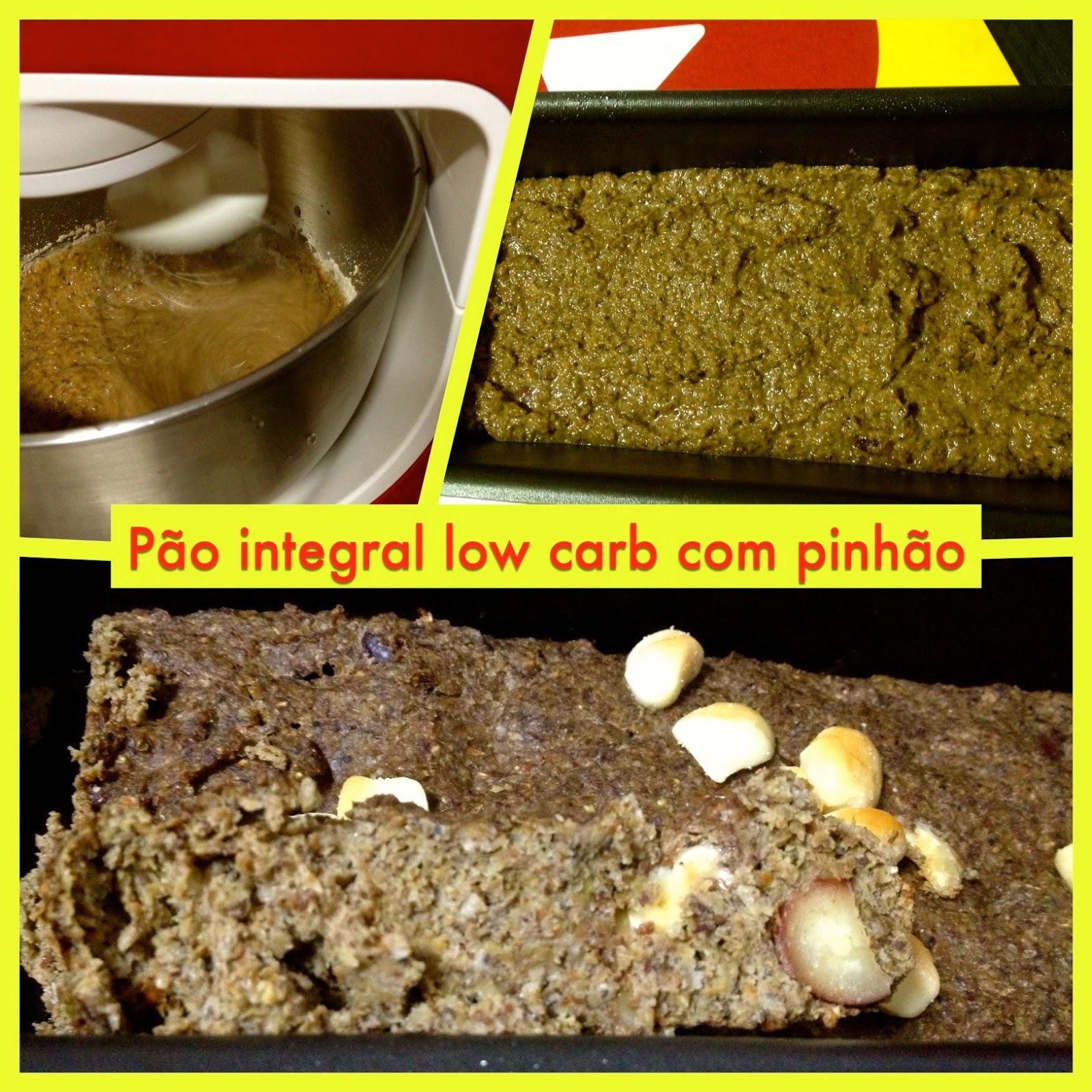 Receita de pão integral com baixo teor de carboidrato (low carb) recheado com pinhões, nozes e macadâmia
