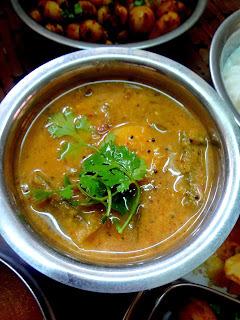 Araithavitta sambhar \ Sambhar prepared by using freshly roasted and ground spices )